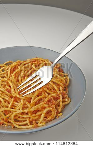 Spaghetti Bolognese On Plate With A Fork
