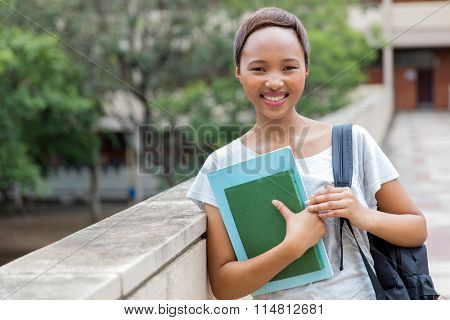smart african female college student on campus