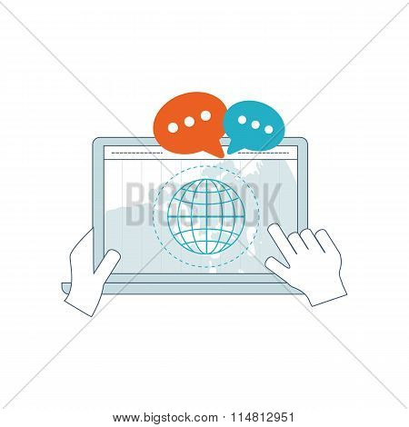 Social network and media concept