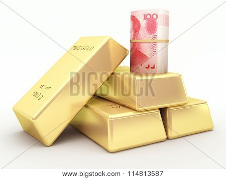 Chinese yuan banknote roll and gold bars