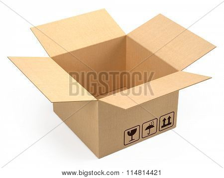 Opened cardboard box package isolated on white