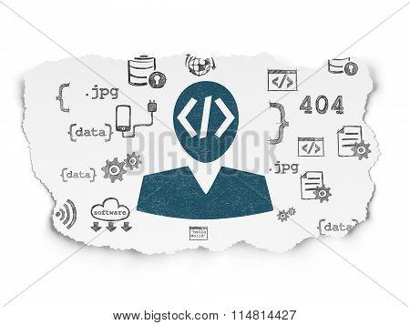 Programming concept: Programmer on Torn Paper background
