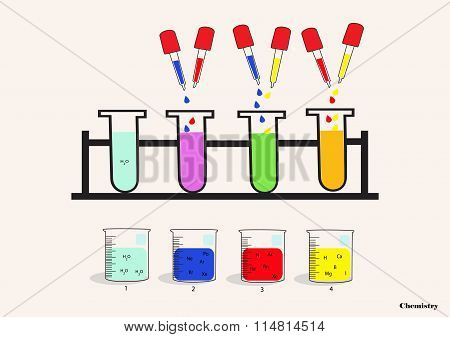 Chemical Beaker, Dropper, Test Tube, Scientific Experiments