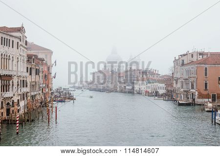 View Of Grand Canal In Fog. Venice