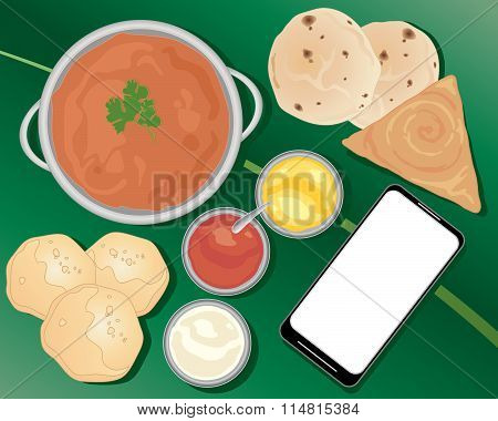Indian Meal With Smart Phone