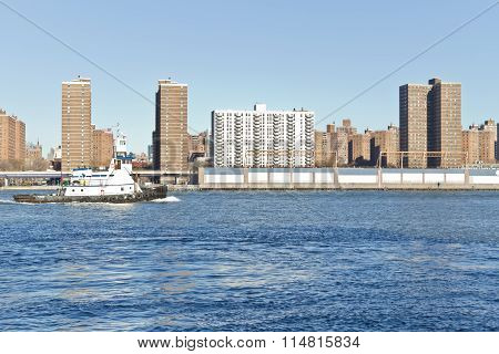 Boat On East River At New York