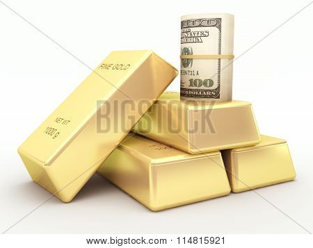 US dollar banknote roll and gold bars