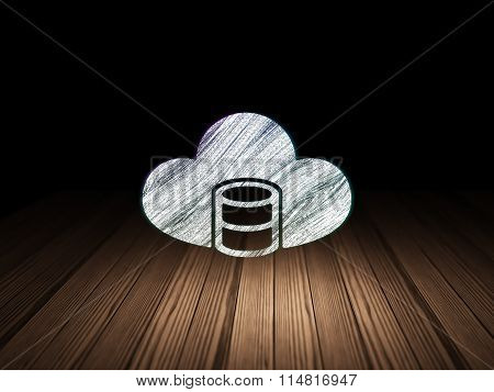 Software concept: Database With Cloud in grunge dark room