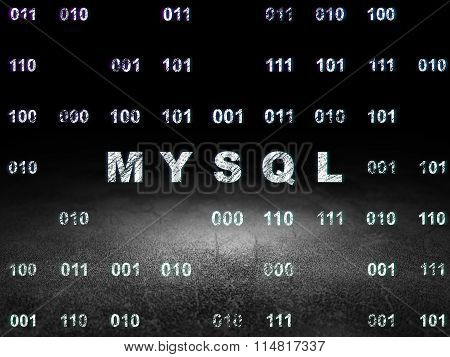 Database concept: MySQL in grunge dark room