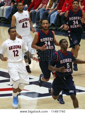 A Race Down Court in a University of Arizona Wildcats Men's Basketball Game