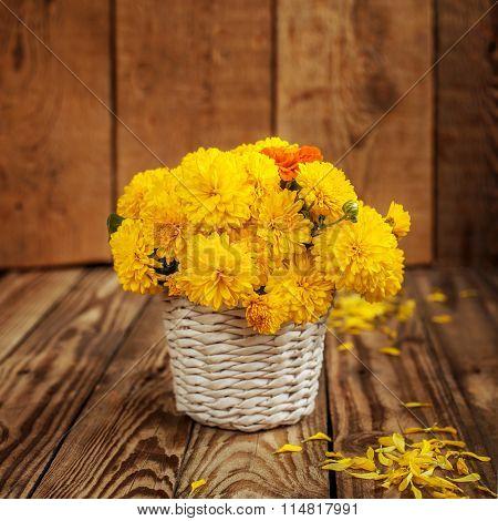 Beautiful Bouquet Of Yellow Chrysanthemums Flowers In Wicker Ba