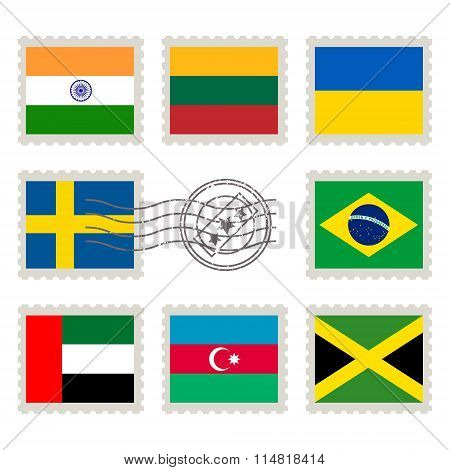 Country Flags Stamp Set