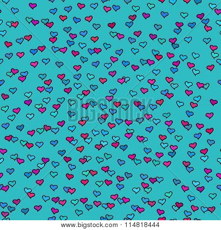 Seamless Pattern With Tiny Colorful Hearts. Abstract Repeating. Cute Backdrop. Blue Background.