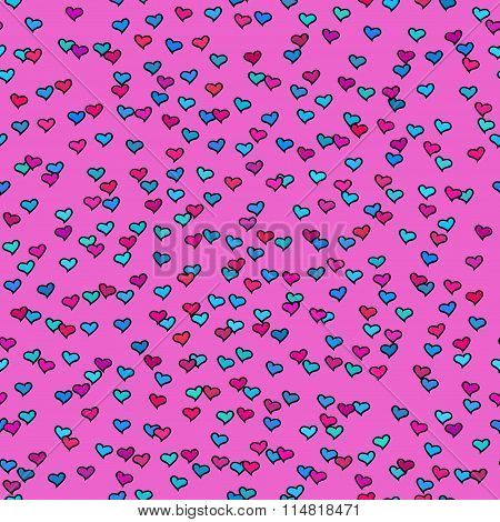Seamless Pattern With Tiny Colorful Hearts. Abstract Repeating. Cute Backdrop. Hot Pink Background.