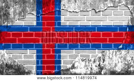 Flag of the Faroe Islands, Faroese flag painted on brick wall
