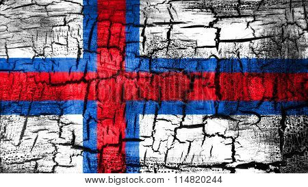 Flag of the Faroe Islands, Faroese flag painted on cracked ground