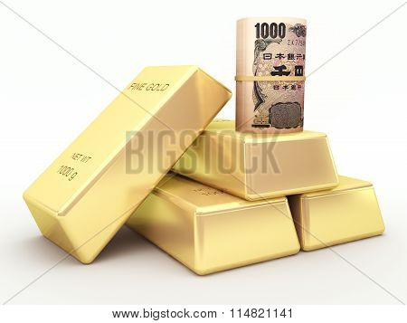 Japanese yen banknote roll and gold bars