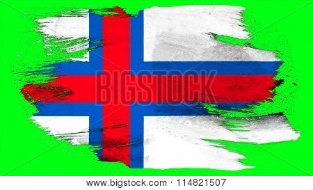 Flag of the Faroe Islands, Faroese flag painted with brush on solid background, paint texture