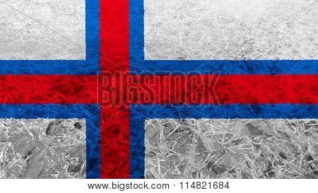 Flag of the Faroe Islands, Faroese flag painted on ice