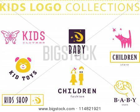 Kids fashion label design.