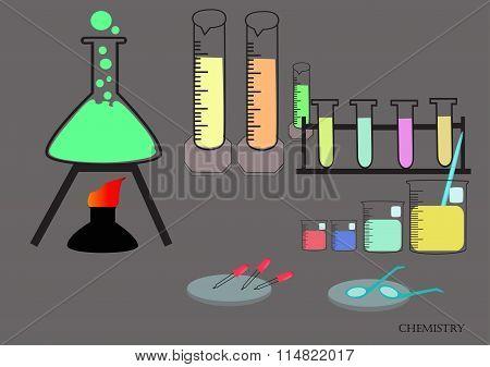 Glassware, Chemicals, Materials, And Scientific Experiments.