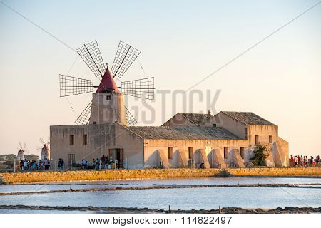 TRAPANI, ITALY, AUGUST 2014, Pans Of Trapani With Windmills, In Sicily
