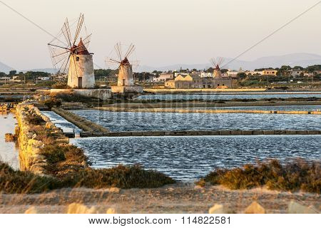 Pans Of Trapani With Windmills, In Sicily