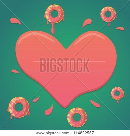 Vector donut valentines day design in mint green and pink gradient colors with heart. Design for gre