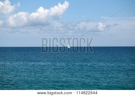 Beautiful White Sailing Boat Offshore