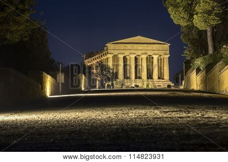 Temples In Agrigento Night In Sicily - Italy