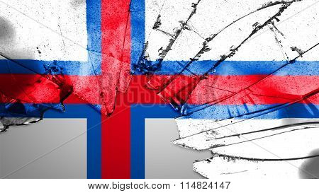 Flag of the Faroe Islands, Faroese flag painted on broken glass