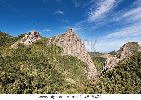 Scenic view of forest and mountains lanscape in La gomera Canary islands Spain.