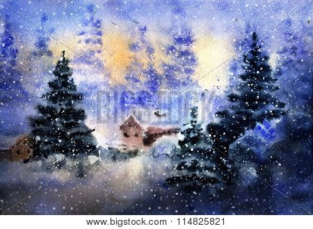 Aquarelle Drawing Of Winter Country Landscape