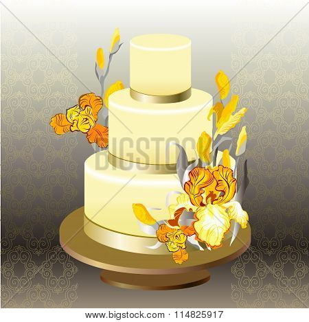 Wedding cake with yellow iris flower design.