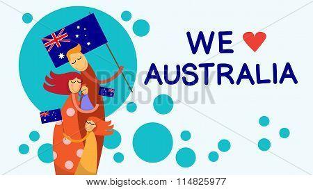 Australia Day National Flag Family Kids Embrace