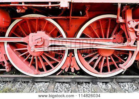 Old Steam Train Driving Wheels