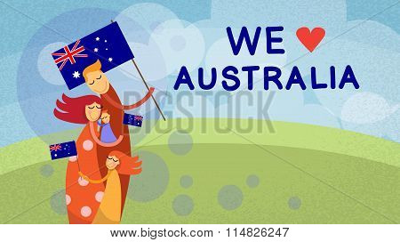 Australia Day National Flag Family Kids Embrace Outdoor Nature