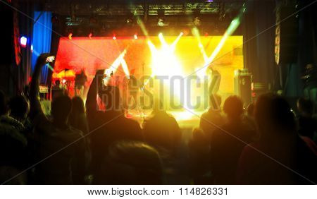 Blurred view on rock concert