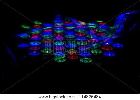 Abstract LED lighting under plastic cover