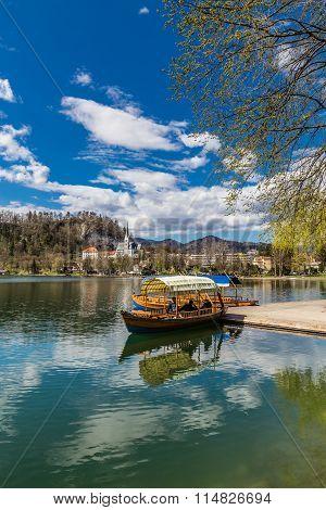 Boat On Bled Lake,st.martin Church-bled,slovenia