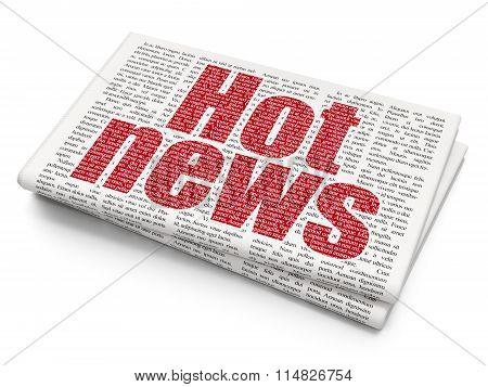 News concept: Hot News on Newspaper background