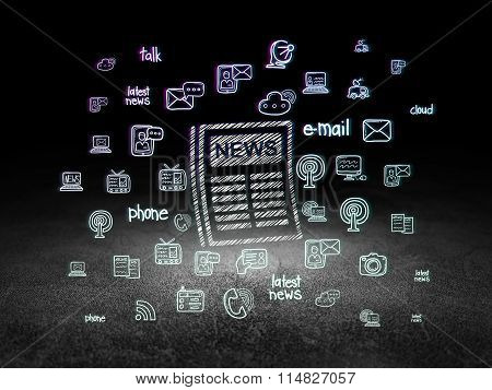 News concept: Newspaper in grunge dark room