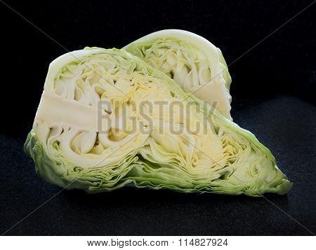 White Cabbage Cut In Halves