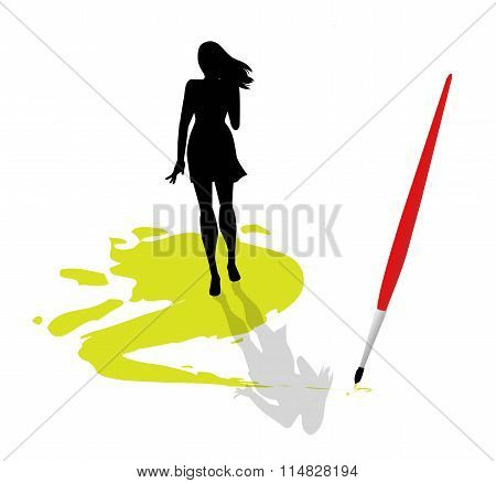 woman on the color mark
