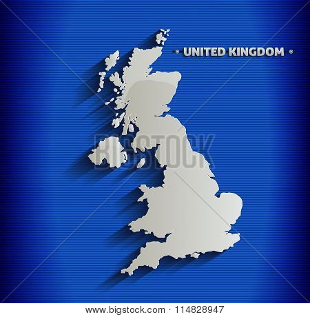 United Kingdom map blue line 3D vector Britain