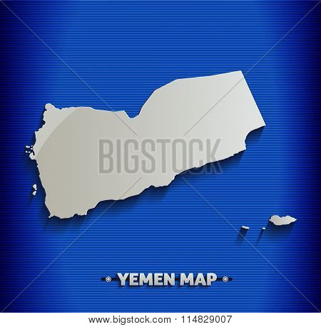 Yemen map blue line 3D vector
