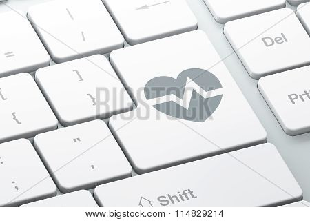 Medicine concept: Heart on computer keyboard background