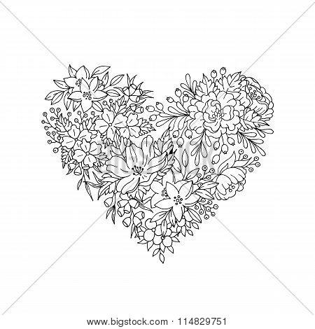 black and white floral heart