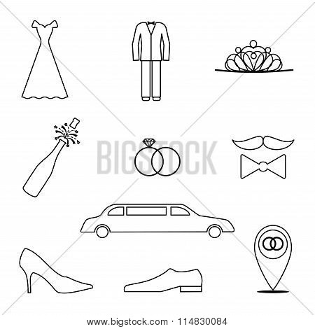 Set of 9 icons in a linear style on the theme of the wedding. Vector elements for your design