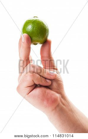 Hand Holding A Lime.